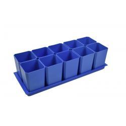 Набор горшков для рассады, 10 стаканов по 750 мл на поддоне (голубой)