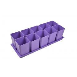 Набор горшков для рассады, 10 стаканов по 750 мл на поддоне (фиолетовый)
