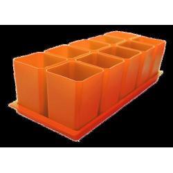 Набор горшков для рассады, 10 стаканов по 750 мл на поддоне (оранжевый)